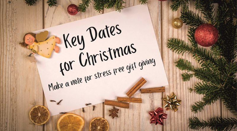 Key dates for Christmas orders