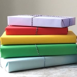 Rainbow of wrapped books