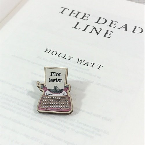 Crime monthly book box - June 2020 - The Dead Line by Holly Watt - typewriter pin