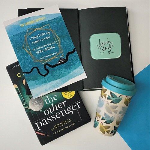 July 2020 - crime book box - The Other Passenger - Louise Candlish - Travel Mug close up