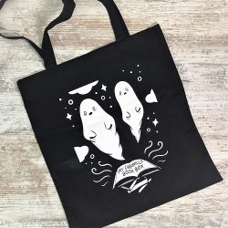 Ghostly bookish tote bag