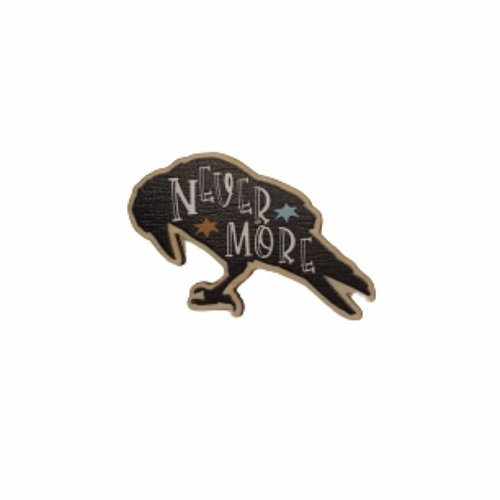 Raven shaped wooden pin - Edgar Allan Poe - Gothic Literature - backing card