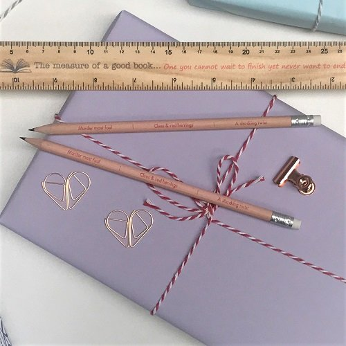 Book plot crime pencils and ruler