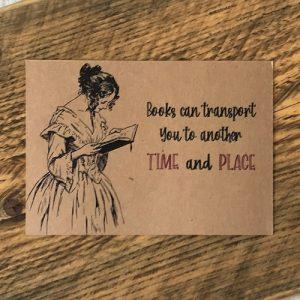 Books transport you postcard