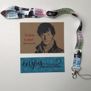 Sherlock lanyard, postcard and bookmark